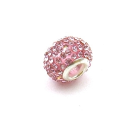 Pandora Style, kraal, strass, roze, 14 mm (1 st.)