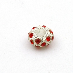 Pandora Style, kraal, strass, rood/zilver, 12 mm (1 st.)