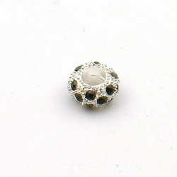 Pandora Style, kraal, strass, zwart/zilver, 10 mm (1 st.)