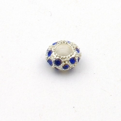 Pandora Style, kraal, strass, blauw/zilver, 10 mm (1 st.)