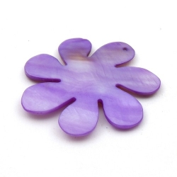 Schelp, hanger, bloem, paars, 48 mm (1 st.)