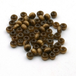 Houten kraal rond bruin 2,5 mm (15 gram)