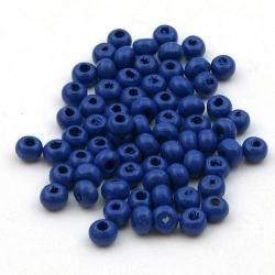 Houten kraal, rond, blauw, 3 mm (15 gram)