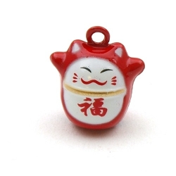 Metaal, belletje, Lucky Cat, rood-wit, 20 mm (1 st.)