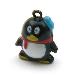 Metaal, belletje, pinguin, zwart, 24 mm (1 st.)