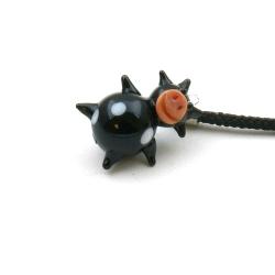 GSM hanger, glas, koetje, zwart, 28 mm (1 st.)