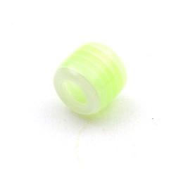 Kunststof kraal groot rijggat (6 mm) cylinder groen/wit 12 mm (10 st.)