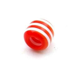 Kunststof kraal groot rijggat (6 mm) cylinder rood/wit 12 mm (10 st.)