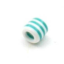 Kunststof kraal groot rijggat (6 mm) cylinder blauw/wit 12 mm (10 st.)