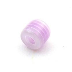 Kunststof kraal met groot rijggat (6 mm), cylinder, lila/wit, 12 mm (10 st.)