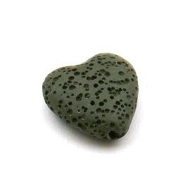 Lava kraal, hart, legergroen, 20 mm (5 st.)