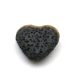 Lava kraal, hart, zwart, 20 mm (5 st.)