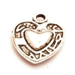 Metaal, bedel, hart, zilver, 15 mm (10 st.)