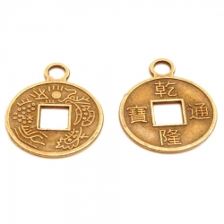 Metaal bedel, chinees muntje, brons, 18 mm (10 st.)
