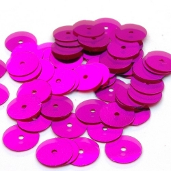 Lovertjes, rond, fuchsia, 10 mm (50 gram)