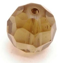 Glaskraal, rond met facetten, transp. grijs, 12 mm (5 st.)