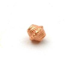 Metallook, kraal, diabolo, roségoud, 6 mm (30 st.)