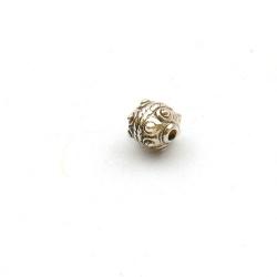 Metallook kraal, rond met bumps, zilver, 10 mm (15 st.)
