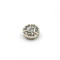 Metallook kraal, rond, plat, zilver, 14 x 6 mm (10 st.)