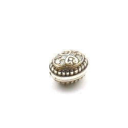 Metallook kraal, ovaal, zilver, 16 x 12 mm (10 st.)