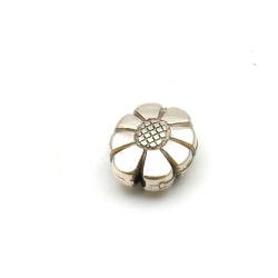 Metallook kraal, ovaal, bloem, zilver, 20 x 15 mm (5 st.)