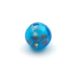 Lampwork kraal met strass, rond, blauw, 14 mm (5 st.)