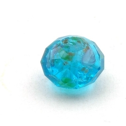 Lampwork kraal met facetten, donut, blauw, 8 x 14 mm (5 st.)