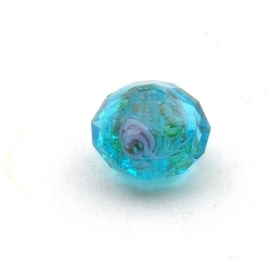 Lampwork kraal met facetten, donut, blauw, 8 x 12 mm (5 st.)