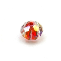 Glaskraal met facetten, donut, rood, 8 x 12 mm (5 st.)