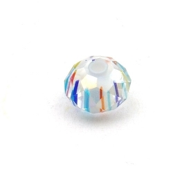 Glaskraal met facetten, donut, wit, 8 x 12 mm (5 st.)