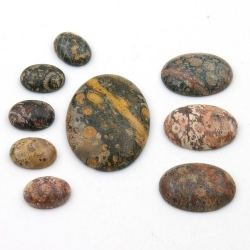 Cabochon, halfedelsteen, Leopard Skin, ovaal (1 set)