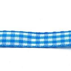 Lint, ruit, blauw/wit, 10 mm (3 mtr.)