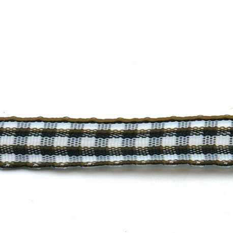 Lint, ruit, zwart/wit, 10 mm (3 mtr.)