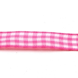 Lint, ruit, roze/wit, 10 mm (3 mtr.)