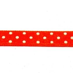 Lint, polkadot, oranje/wit, 10 mm (3 mtr.)
