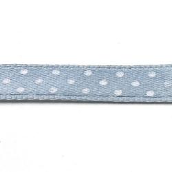 Lint, polkadot, grijs/wit, 10 mm (3 mtr.)