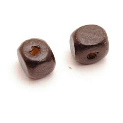 Houten kraal, blokje, zwart, 10 mm (10 st.)