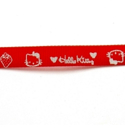 Lint, Hello Kitty, rood/wit, 10 mm (3 mtr.)