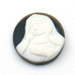 Cabochon, kunststof, Camee, ovaal, zwart, 40 mm (1 st.)