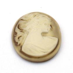 Cabochon, kunststof, Camee, ovaal, bruin, 40 mm (1 st.)