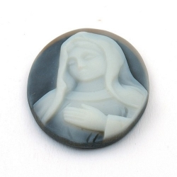 Cabochon, kunststof, Camee, ovaal, antraciet, 40 mm (1 st.)