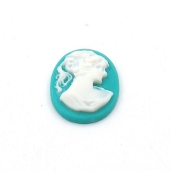 Cabochon, kunststof, Camee, ovaal, turquoise, 24 mm (1 st.)