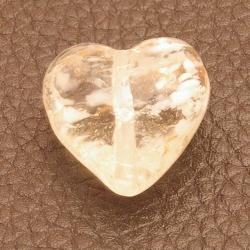 Glaskraal, hart, transparant/wit/goudfolie, 20 mm (5 st.)