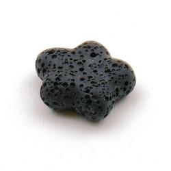 Lava kraal, bloem, zwart, 20 mm (5 st.)
