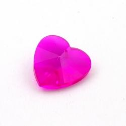 Glashanger, hart met facetten, fuchsia, 28 mm (1 st.)