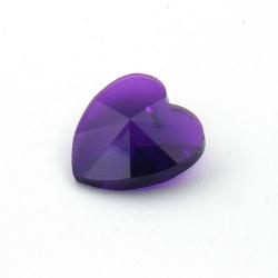 Glashanger, hart met facetten, paars, 28 mm (1 st.)