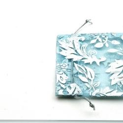 Organzazakjes, lichtblauw/zilver, 7,5 x 9 cm (5 st.)