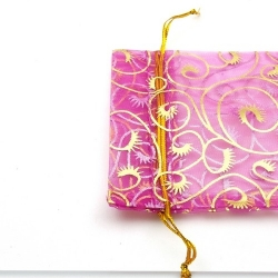Organzazakjes, fuchsia/goud, 11,5 x 9,5 cm (5 st.)