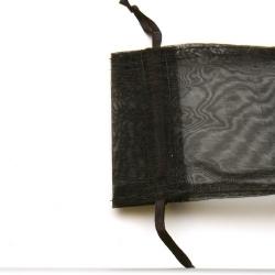 Organzazakjes, zwart, 12 x 10 cm (5 st)