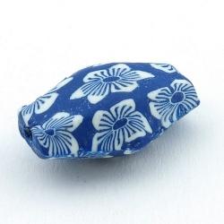 Fimokraal, ovaal, hoekig, blauw, 30 x 12 mm (3 st.)